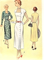 1950s LOVELY Dress Pattern McCALL 8046 Side Button Day or Dinner Dress Bust 34 Vintage Sewing Pattern FACTORY FOLDED