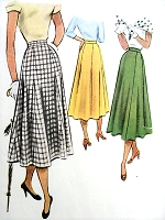 1950s CLASSY Gored Skirt McCALL 8089 Waist 24 Vintage Sewing Pattern