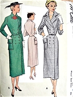 1950s CLASSY Slim Wing Collar Dress Pattern McCALL 8172 Striking Design Bust 34 Vintage Sewing Pattern UNCUT
