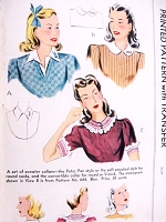 1940s Set of Sweater COLLARS Pattern McCALL 853 Peter Pan, Soft Ruffled, Covertible Round or V Neck Size Large Vintage Sewing Pattern