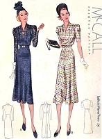 1930s BEAUTIFUL Art Deco Dress Pattern McCALL 9588 Flattering Draped Shoulders V Neckline Day or Party Evening Dress Bust 36 Vintage Sewing Pattern