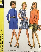 MOD 60s COAT and Dress Pattern McCalls 2140 Mini Coat or Jacket Jewel Neckline Dress Bust 40 Vintage Sewing Pattern UNCUT