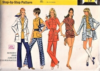 MOD 1960s Separates Hot Pants Flared Pants Safari Jacket and Pull Over Top Pattern McCALLS 2242 Easy to Sew  Bust 31 Vintage Sewing Pattern UNCUT
