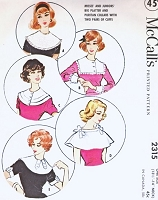 1950s FAB Collars and Cuffs Accessories Pattern McCalls 2315 Large Cape Collars, Puritan Collar 5Different Styles Vintage Sewing Pattern