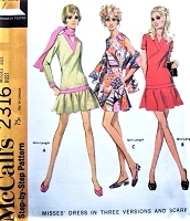 1970s MOD Drop Waist Dress and Scarf Pattern McCALLS 2316 V Neckline Cute Dress Bust 34 Vintage Sewing Pattern UNCUT