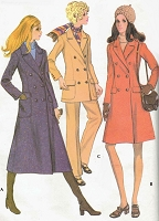 RETRO 70s Midi or Regular Coat, Jacket and Pants Pattern McCALLS 2540 Double Breasted Style Bust 34 Vintage Sewing Pattern FACTORY FOLDED