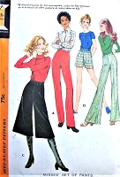 RETRO 70s High Waist Shorts Wide Leg Pants Midi Culottes Gauchos Slim Leg Pants  Pattern McCALLS 2721  Waist 24 or 31 Vintage Sewing Pattern UNCUT