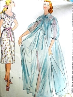 1950s DREAMY NightGown and Peignoir Robe Pattern McCALLS 3020 Romantic Design Bust 34 Vintage Lingerie Sewing Pattern FACTORY FOLDED