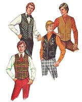 1970s RETRO Mens Set Of Vests Pattern McCALLS 3021 Gentlemens Lined Vests Button or Zip Front Styles Casual or Formal Size Large Vintage Sewing Pattern