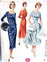 50s LOVELY Slim Cocktail Party  or Flared Skirt  Day Dress Pattern McCALLS 3462 Square Neckline Dress Easy To Sew Bust 36 Vintage Fifties Sewing Pattern