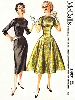 50s STUNNING Slim or Full Skirt Day or Party Dress Pattern McCALLS 3497 Boat Neckline Bust 33 Vintage Sewing Pattern