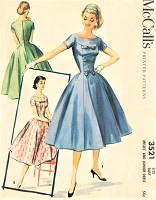 1950s LOVELY Daytime or Party Cocktail Dress Pattern McCALLS 3521 Figure Flattering Full Skirt Dress Bust 34 Vintage Sewing Pattern