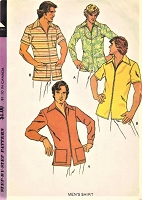 1970s RETRO Front Zip Casual Mens Shirt Top Pattern McCALLS 3594 Size Small Vintage Gentlemens Sewing Pattern FACTORY FOLDED