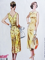 1950s BOMBSHELL Slim Instant Dress Pattern McCALLS 4137 Figure Flattering Dress Bust 32 Vintage Fifties Sewing Pattern