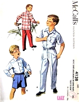 1950s CUTE Boys Shirt Pants or Shorts Pattern McCALLS 4138 Easy To Sew Size 8 Vintage Childrens Sewing Pattern FACTORY FOLDED