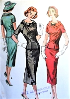 1950s SLEEK Two Pc Slim Dress Pattern McCALLS 4177 Lovely Design Details Day or After 5 Bust 34 Vintage Sewing Pattern UNCUT