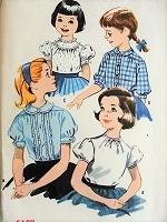 1950s SWEET Little Girls Blouse Set Easy To Sew Pattern McCALLS 4281 Four Cute Styles Peter Pan Collar, Puff Sleeves Size 6 Childrens Vintage Sewing Pattern