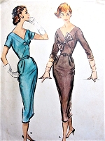 1950s STUNNING Surplice Cocktail Party Dress Pattern McCALLS 4391 Bombshell Slim Figure Show Off Easy To Sew Dress Bust 40 Vintage Sewing Pattern