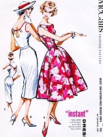 1950s BOMBSHELL Slim or Full Skirt Dress Pattern McCALLS Lovely Day or Party Cocktail, Cutout Keyhole Back Version Bust 36 Vintage Fifties Sewing Pattern