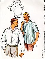 1950s CLASSIC Gentlens Shirt Pattern McCALLS 4723 Long or Short Sleeves With Color Monogram Transfer Medium Size Vintage Sewing Pattern UNCUT