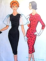 1950s SIZZLING Cocktail Evening Sheath Dress Pattern McCALLS 5106 Unique Neckline, Two Sleeve Versions Bust 32 Vintage Sewing Pattern