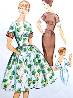 1950s DAZZLING Midriff Cocktail Party Dress Pattern McCALLS 5219 Slim or Full Skirt Bateau Neckline Bust 32 Vintage Sewing Pattern FACTORY FOLDED