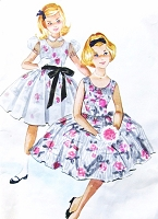 1950s BEAUTIFUL Girls Party Dress and Sheer Overdress Pattern McCALLS 5264 Puff or Sleeveless Perfect Wedding Flower Girl Dress Size 14 Vintage Childrens Sewing Pattern UNCUT