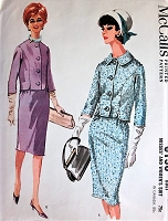 1960s STYLISH Suit Pattern McCALLS 6198 Slim Skirt Suit Shorter Shaped Jacket 2 Necklines Bust 32 Vintage Sewing Pattern FACTORY FOLDED