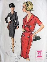 1960s CHIC Belted Wrap Dress McCalls 6906 Vintage Sewing Pattern Bust 32