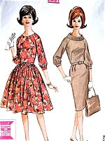 1960s CLASSY Full or Slim Skirt Dress Pattern McCALLS 7059 Easy To Sew Two Versions Day or Party Cocktail Evening Bust 38 Vintage Sewing pattern