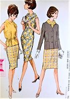 1960s CLASSY Slim Dress, Blouse, Skirt and Jacket Pattern McCALLS 7133 Flattering Rolled Bias Collar Easy Travel Wardrobe Bust 32 Vintage Sewing Pattern UNCUT