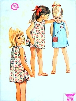 1960s CUTE Little Girls Dress and Pants Pattern McCALLS 7221 Sweet Summer Beach Button Back Dress and Shorts Toddler Size 2 Vintage Childrens Sewing Pattern +Applique