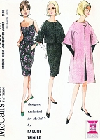 1960s ELEGANT Pauline Trigere Cocktail Dress,Jacket and Coat Pattern McCALLS 7530 Easy Evening Party Elegance Bust 34 Vintage Couture Sewing Pattern