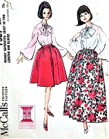 1960s LOVELY Full Sleeved Blouse Bow Tied and Full Day or Evening Length Skirt Pattern McCALLS 7537 Bust 36 Vintage Sewing Pattern UNCUT