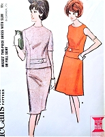 1960s CLASSY Two Pc Dress Pattern McCALLS 7691 Slim or Flared Skirt Styles Bust 36 Vintage Sewing Pattern UNCUT