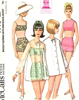 1960s BEACHWEAR Pattern McCALLS 7775 Two Pc Bathsuit SwimSuit Bra Top High Waist Shorts Beach Cover Up Beach Coat Bust 34 Vintage Sewing Pattern
