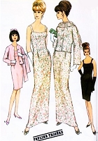 1960s CLASSY Pauline Trigere Evening Gown Cocktail Dress and Jacket, Scarf Pattern McCalls New York Designers 8076 Stunning Empire Slim Dress In 2 Lengths Bust 32 Vintage Sewing Pattern