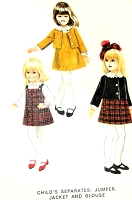 1960s ADORABLE Little Girls Jumper Jacket and Blouse Pattern McCALLS 8469 Sweet Childrens Separates Size 6 X Vintage Sewing Pattern