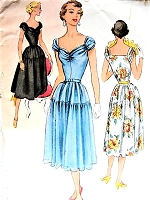 1950s ROMANTIC Party Dress Pattern McCALLS 8505 Almost Off Shoulders Sweetheart Neckline Perfect For Sheer Fabrics Bust 34 Vintage Sewing Pattern