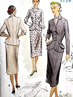 1950s STYLISH Suit Dress Pattern McCALLS 8584 Fitted Nip In Waist, Slim Skirt Day or Evening Bust 32 Vintage Sewing Pattern