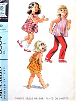 1960s CUTE Childrens Dress or Top, Pants or Shorts Pattern McCALLS 8804 Sweet Little Girls Toddlers Styles Size 3 Vintage Sewing Pattern