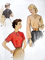 1950s CLASSIC Blouse Pattern McCALLS 8881 Button Back Tuck In Blouse 2 Versions Bust 34 Vintage Sewing Pattern
