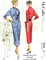 RARE French Couture Sheath Dress Pattern McCALLS 9259 Figure Flattering Day or Cocktail Dress Bust 30 Vintage Fifties Sewing Pattern