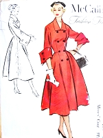 1950s STUNNING French Cuffs Coat Pattern McCALLs 9490 Dior Style Couture Design Bust 38 RARE Vintage Sewing Pattern UNCUT