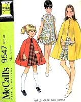 CUTE 60s Girls Cape Coat and Dress Pattern McCALLS 9547 Size 10 Vintage Childrens Sewing Pattern UNCUT
