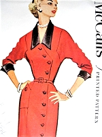 1950s STUNNING Slim Dress McCALLS 9556  Front Side Button Day or After 5 Fashion Bust 42 Vintage Sewing Pattern FACTORY FOLDED