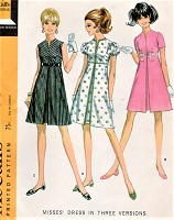 1960s CUTE Mod Empire Dress Pattern McCALLS 9558 Three Styles Bust 32 Vintage Sewing Pattern UNCUT