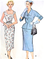 1950s GLAM Slim Cocktail Party Dress and Jacket Pattern McCALLS 9664 Unique Neckline ,Lovely Fitted Jacket Bust 34 Vintage Sewing Pattern