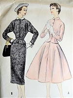1950s CLASSIC Suit with Two Skirts Vintage Sewing Pattern McCall's 9892 Bust 31