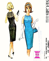 1960s SEDUCTIVE Evening Cocktail Party Dress Pattern McCALLS 7065 Figure Show Off Sheath With Neckline of Sheer Yoke Bust 32 Vintage Sewing Pattern